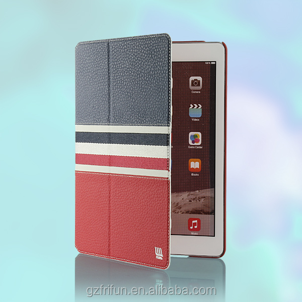 For iPad 6 air 2 PU leather case with litchi PU and nice decorative ribbon(red+blue)