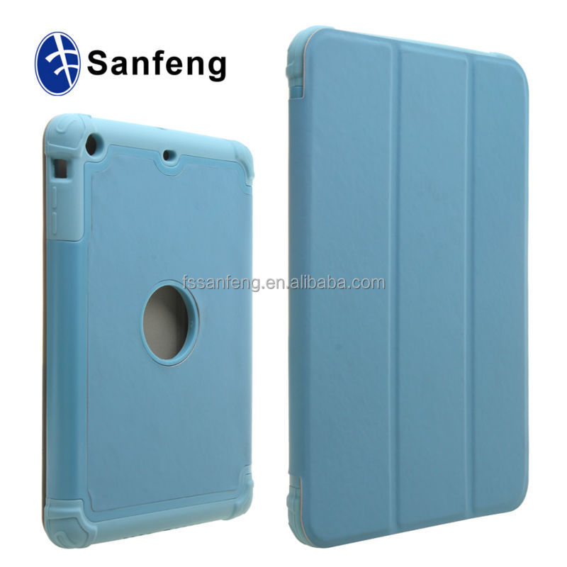 Soft silicon+pu leather folio cover for ipad mini 3 shockproof case / cheap wholesale defend for pad mini 3 leather case
