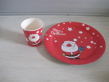 Merry Christmas paper plate and paper cup made in china
