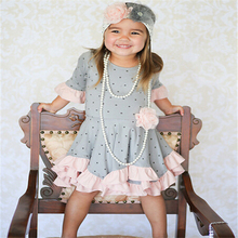 Wholesale girls fashion Christmas dresses kids fall half sleeve top with ruffle and pink lace dress girls party boutique dress