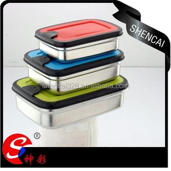 New style stainless steel food preservation rectangular box set of 3pcs, stainless steel lunch box