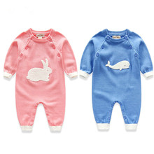 QK989 Animal crochet baby cotton knitted rompers the spring and autumn sweater garment jumpsuits