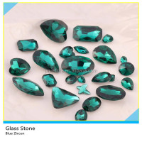 Wholesale Blue Zircon Color Flatback Fancy Glass Stone For Bag Decoration