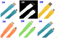 3M Flat Charging Cable USB 2.0 Male to Micro USB Cable Adapter for Samsung/HTC/Nokia etc.