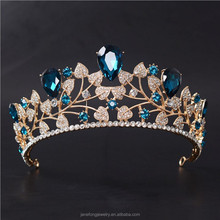 Latest Blue Crystal Stone Leaf Tiara <strong>Crown</strong> Gold Pageant <strong>Crowns</strong>