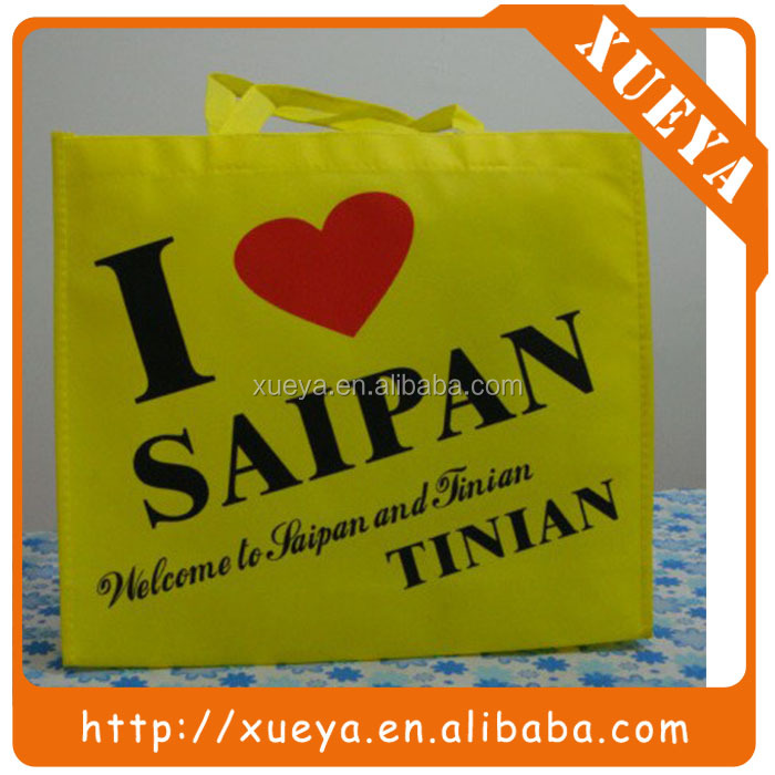yellow color personalized reusable tote shopping bag