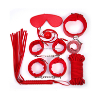 7pcs Adults Games Handcuffs Set Mouth Stuffed Whip Collar Patch Shackle Rope Sex Toys for Couples Fetish Sex Bondage Restraints