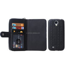 Multiple card slots PU leather case for samsung galaxy S4, leather handbag with phone case
