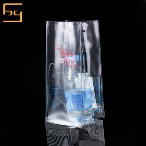 PVC/EVA Clear Packing Hand Wine Bottle Bags With Brand Logo