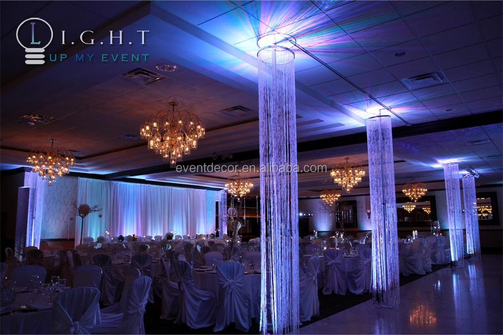 Hanging Crystal Beaded Columns For Weddings Aisle Decor