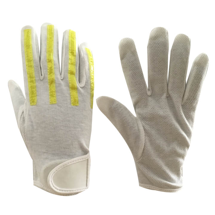 SAFETY Brite Strike Traffic police Reflective Gloves White Cotton pvc dots Gloves , Reflective working gloves