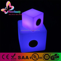 Waterproof plastic LED cube furniture with bluetooth speakers for outdoor and indoor