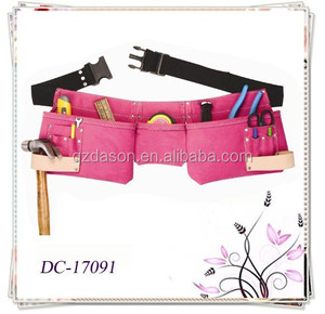 Custom Pink Suede Leather Women's Tool Belt Bag