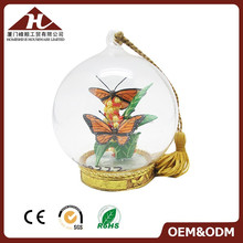 OEM hanging plastic empty snow globe with butterfly