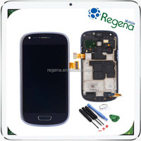original LCD Touch Digitizer Display Screen For Samsung Galaxy S3mini I8190 with frame