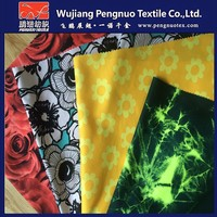 100% polyester micro fibre twill water print peach skin 75DX150D fabric with PA for beach shorts/pants