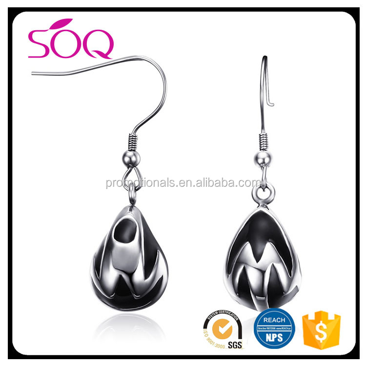 2017 Factory price elegant drop hanging high polished stainless steel enamel earing famous