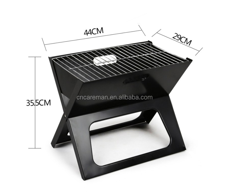 X shaped Portable Iron Flat Folding BBQ Grill, Notebook Fold Flat Barbecue Stove OEM Orders Accepted