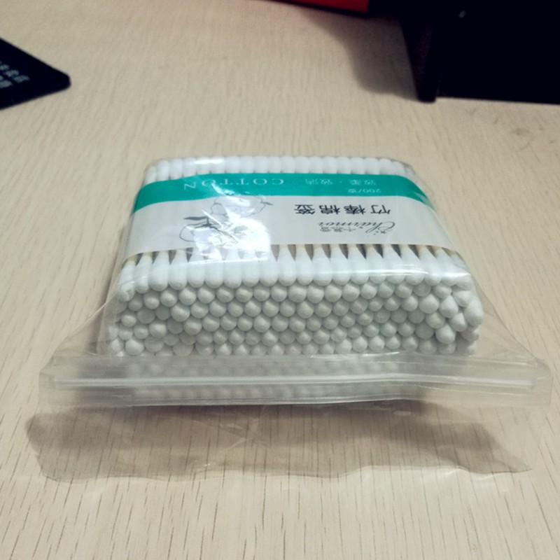 200PCS Double Round Head Bamboo Stick Cotton Swabs In PE Bag