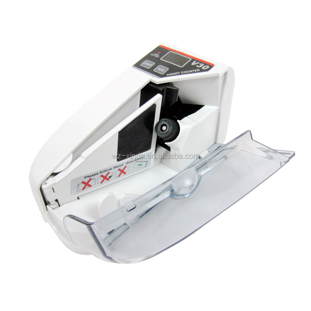 Lght-weighted and Portable Handy Money counter Operate with 4 AA battery or adapter Suitable for most currencies