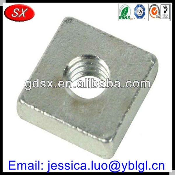 cnc machine/auto lathe part mild/carbon/stainless steel threaded square spacer,galvanized steel thread square washer,square nut