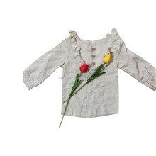 Wholesale Latest Design Baby Girl Cotton Clothes Plain Color Baby Ruffle Tops Kids Long Sleeve T-shirt
