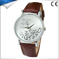 Durable Hot do I am Late anyhow leather letter pattern men women fresh watches women new style Lady Dress Watch LW013