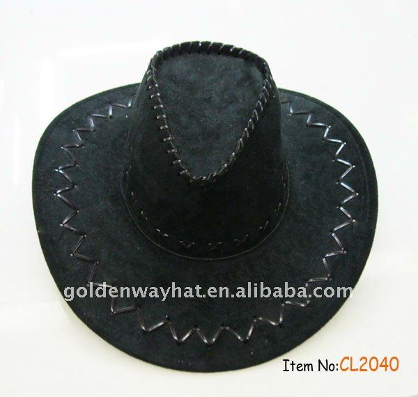 chassic western black leather cowboy hat
