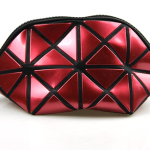 Customized Lady Folding Waterproof Geometric Diamond Pattern Laser Cosmetic Bag