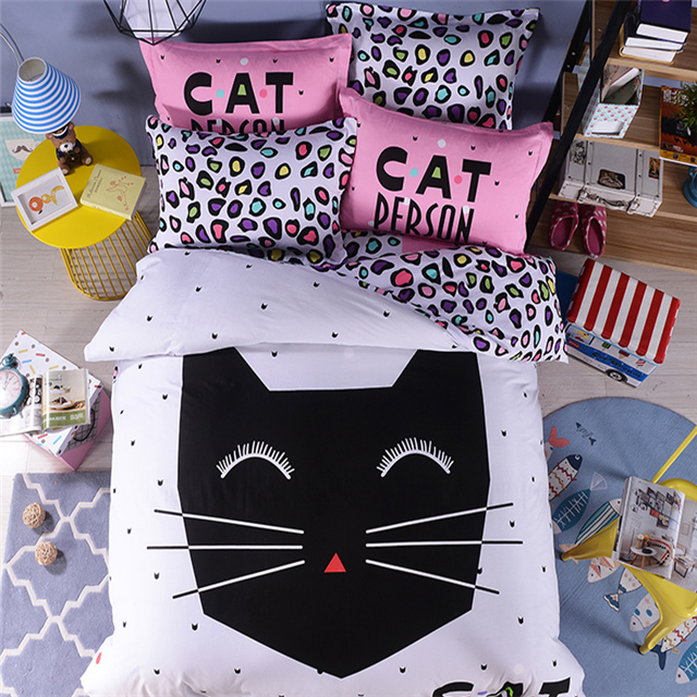 Cartoon series coco cat reactive print 100% cotton bedding set