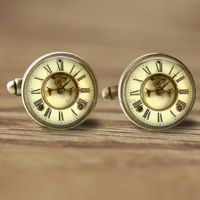 16mm Cuff Links Clock Cufflinks Mens Accessory Glass Cufflinks Picture