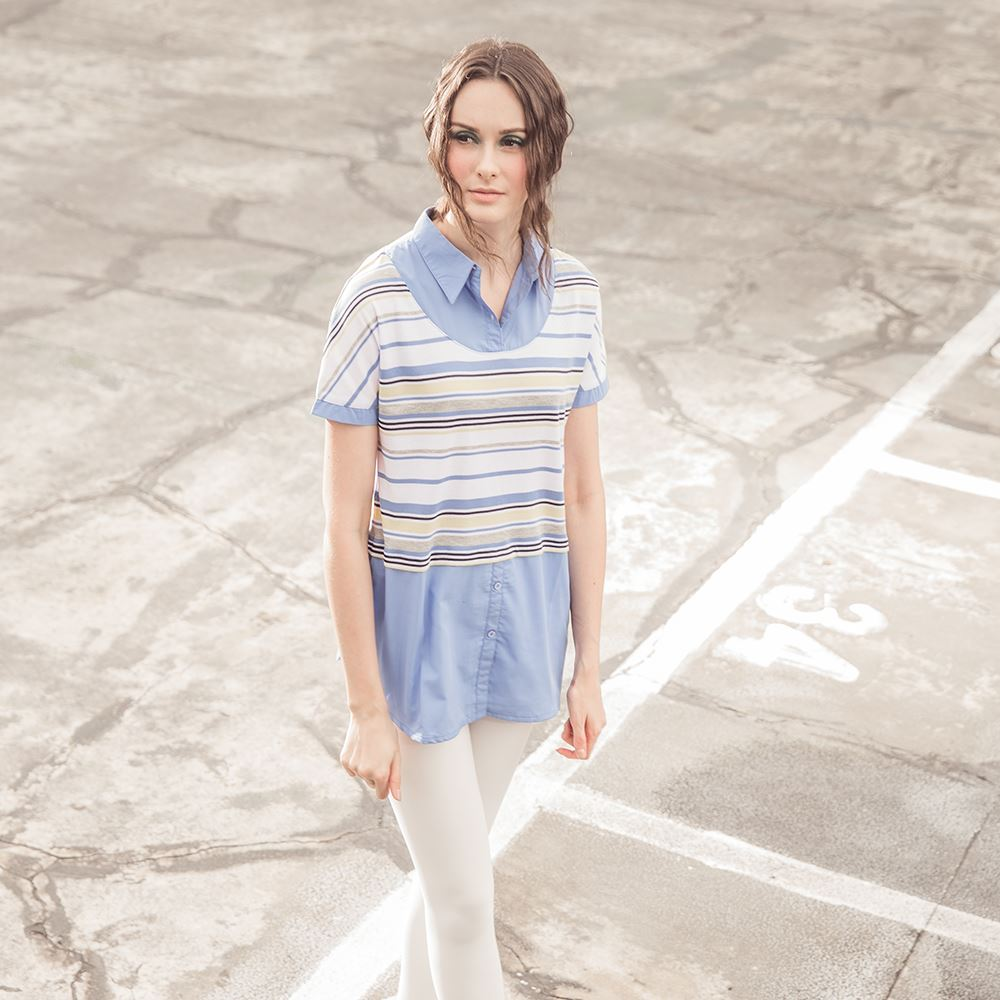 Custom Latest Design shirt For Women Pure Color Cotton Polyester Soft Breathable stripe