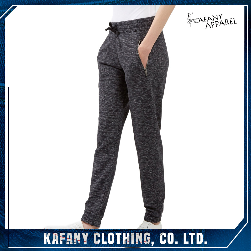 High Quality Dark Grey Zip Pocket Women Joggers Relaxed Fit Pants Joggers