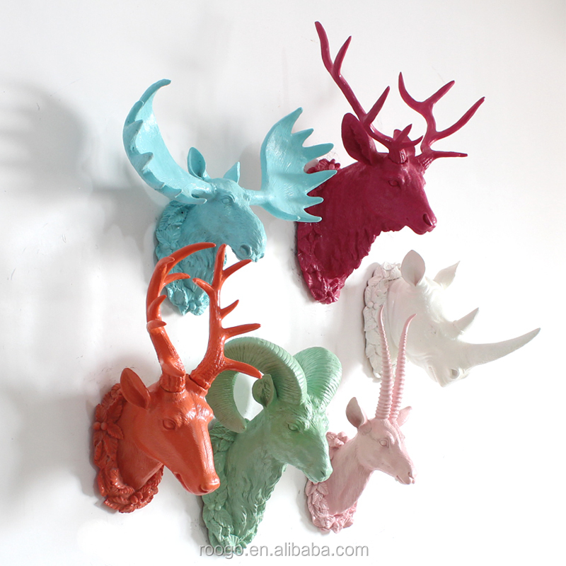 Resin craft modern colorful animal head wall decor home wall decoration