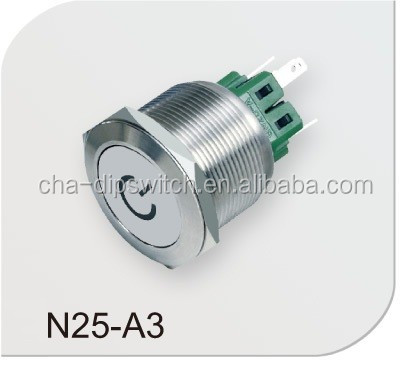 CHAU-HUA N25-A3 25mm LED metal push button switch momentary