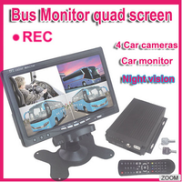 4 CH bus monitoring systems with 7 inch monitor and CMOS/CCD camera