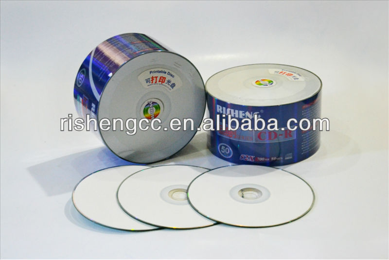 RISHENG or OEM brand full face white inkjet printable 16x Dvd+r 4.7bg / A+ Grade blank Dvd+r wholesale