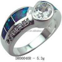 Sterling Silver Jewelry, White CZ With Opal Ring , 925 Sterling Silver Ocean Opal Jewelry Accepted By paypal