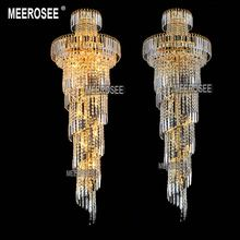 Long Spiral Gold or Silver Crystal Chandelier Lighting Fixture Lustre Crystal Hanging Lamp for Restaurant Hotel Lobby MD8500
