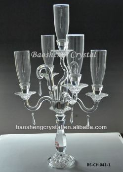 5 Arms Crystal Decorative Candle Holder, Hurricane Lamps Candelabra for weddings (BS-CH041)