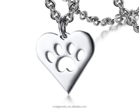 Stainless steel accessories factory direct sale of stainless steel simple dog claw heart pendant necklace silver necklace