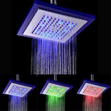 Temperature control 3 colors 8 inch glass lighting rain bathroom showerhead(Blue-Green-Red)