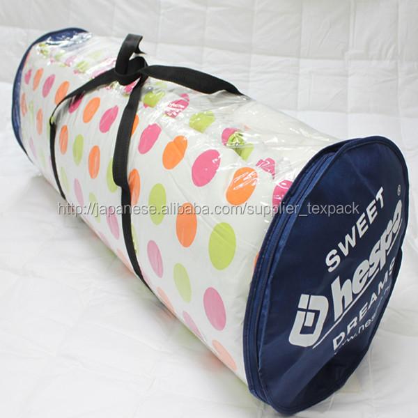 clear pvc pe palstic round zipper bag for bedding