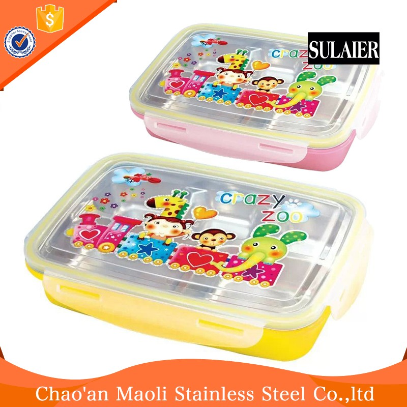 Decorative And Practical Stainless Steel 4 Compartment Layers Lunch Bento Box
