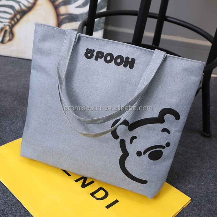 Eco-friendly recycled high quality cheap personalized custom grey tote canvas bag fashion reusable canvas shopping bags