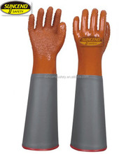 full dipping PVC oil and chemical resistant working gloves with extra long PVC gloves