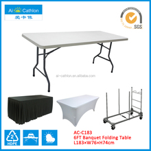 72'' Plastic Folding Banquet Table ,Cheap Foldable Catering Table Blow Mold Event Tables
