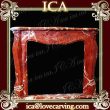 Red marble fireplace hearth slabs