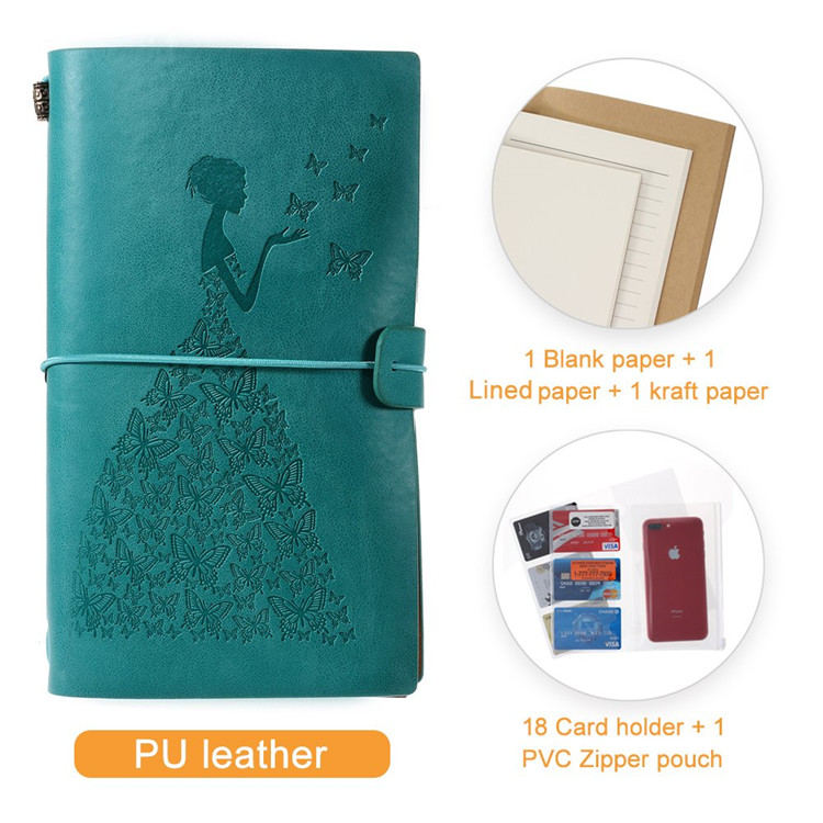 Vintage Leather Custom Embossed Printing Notebook Private Label Girls Notebook