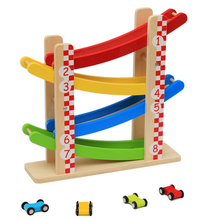 Wooden Kids Zig Zag Cars Race Track Playset - 4 Levels Car Racing Games -Switchback Slider Ladder toy Educational Wooden toys